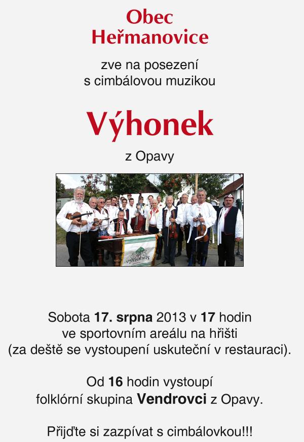 Obec Heřmanovice zve na posezení s cimbálovou muzikou Výhonek