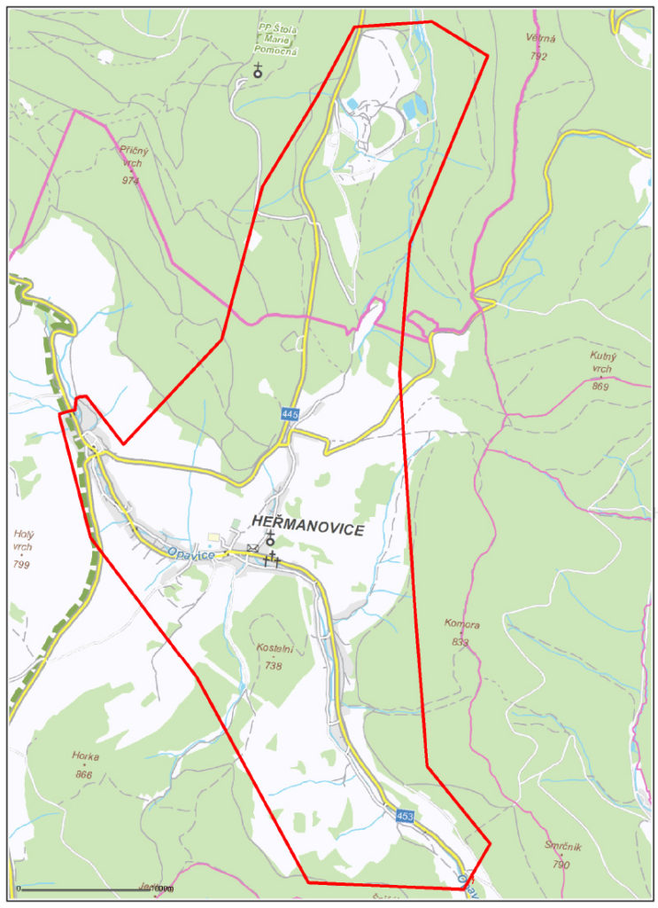orientační mapka Heřmanovic