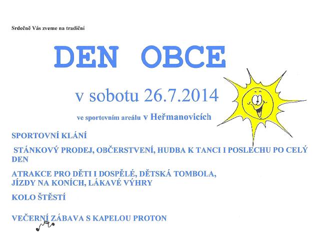 Tradiční den obce se uskuteční  v sobotu 26. 7. 2014.